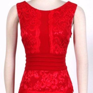 NWT Jax Red lace long formal dress, size 4